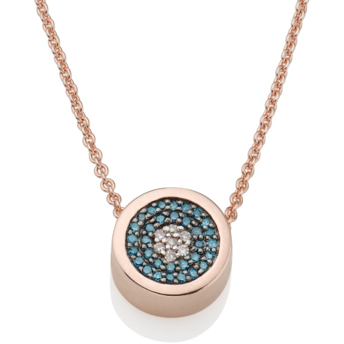 Rose Gold Vermeil Evil Eye Necklace - Blue & White Diamonds