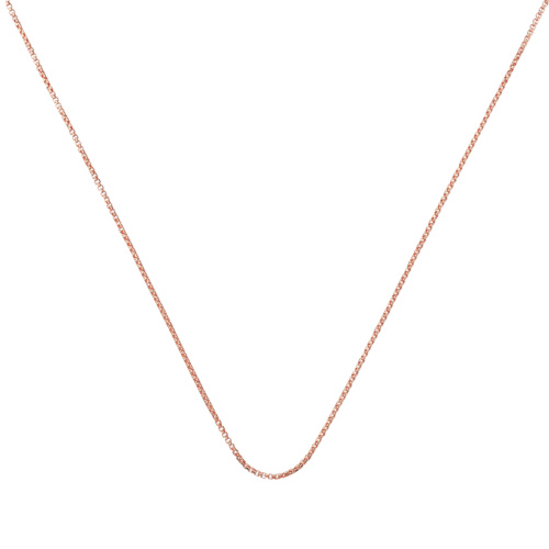 Rose Gold Vermeil Fine Oval Box Chain -18