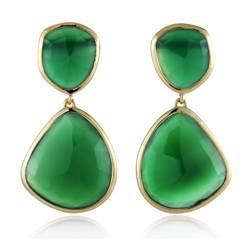 Gold Vermeil Siren Cocktail Earrings - Green Onyx - Monica Vinader