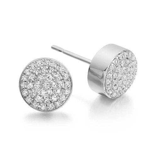 Ava Button Stud Earrings - Diamond - Monica Vinader