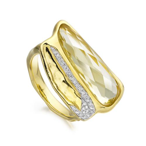 Gold Vermeil Riva Diamond Shore Double Ring - Lemon Quartz - Monica Vinader
