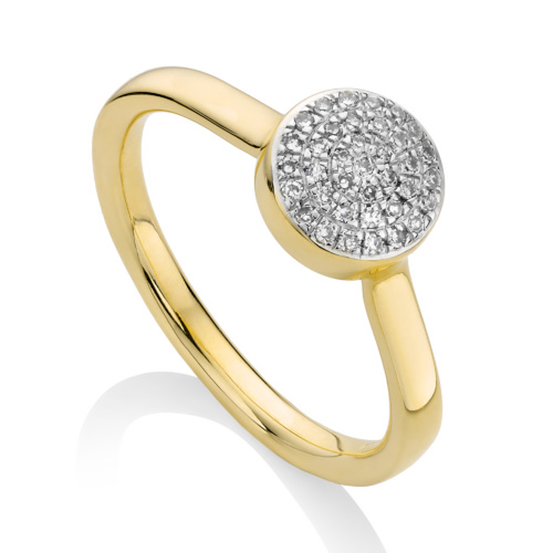 Gold Vermeil Ava Button Ring - Diamond