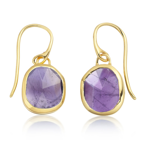 Gold Vermeil Siren Wire Earrings - Amethyst - Monica Vinader