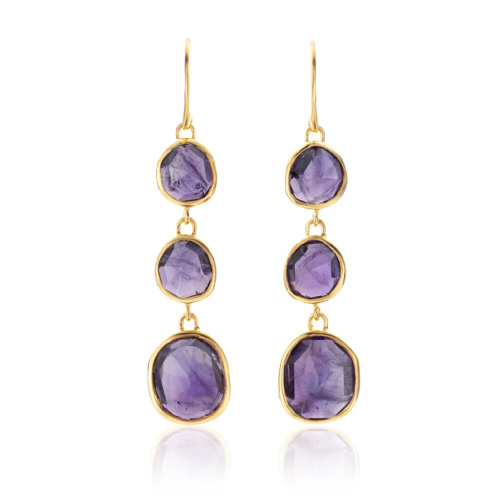 Gold Vermeil Siren Wire Cocktail Earrings - Amethyst - Monica Vinader