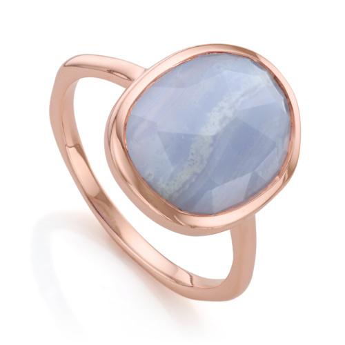 Rose Gold Vermeil Siren Medium Stacking Ring - Blue Lace Agate - Monica Vinader