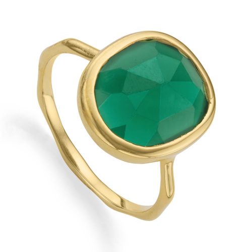 Gold Vermeil Siren Medium Stacking Ring - Green Onyx - Monica Vinader