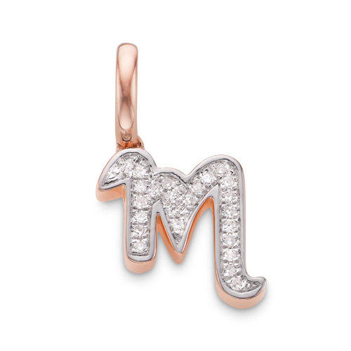 Rose Gold Vermeil Alphabet Pendant M - Diamond - Monica Vinader