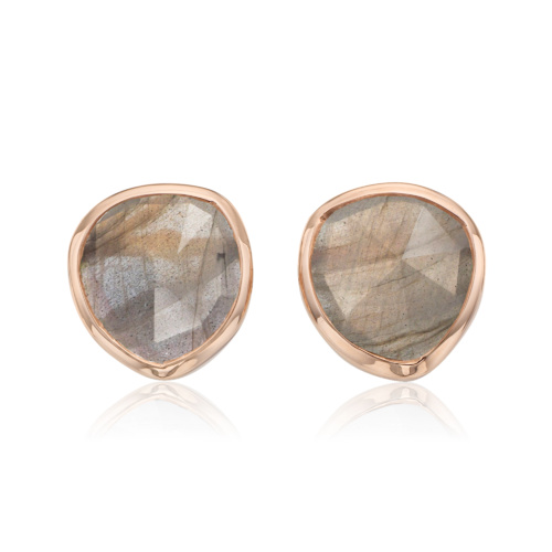 Rose Gold Vermeil Siren Stud Earrings - Labradorite - Monica Vinader